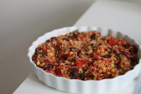 vegetarisk gratäng med ris
